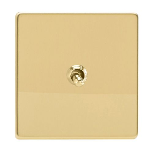 Varilight XDVT1S Screwless Polished Brass 1 Gang 10A 1 or 2 Way Toggle Light Switch